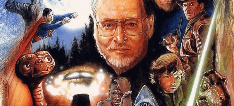Collage image of John Williams surrounded by characters from movies for which he composed music
