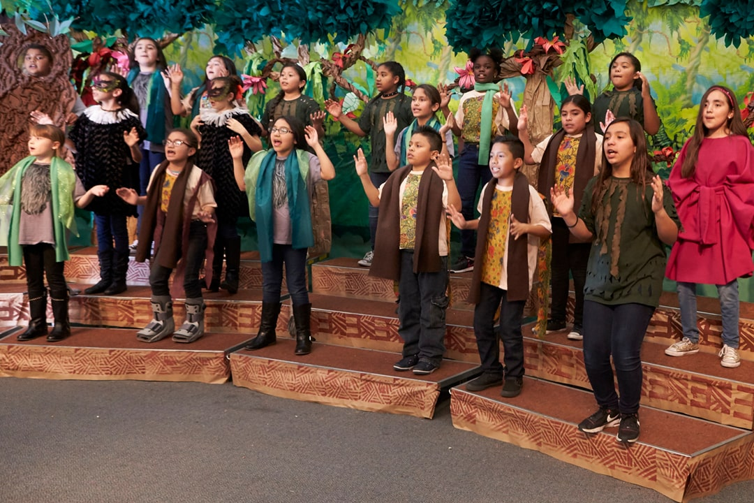 A photo of elementary students in their chorus costumes performing a song from their school musical, Disney's The Lion King Jr.