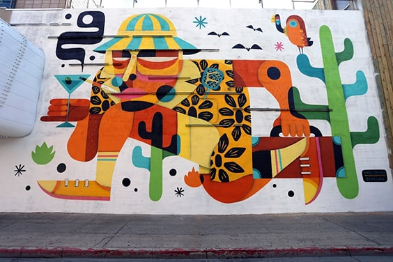 "A photo of the wall mural of ""Fear and Loathing in Las Vegas"" by Ruben Sanchez"