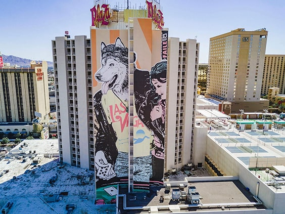 "A photo of the mural ""FAILE"" by Shepard Fairey"