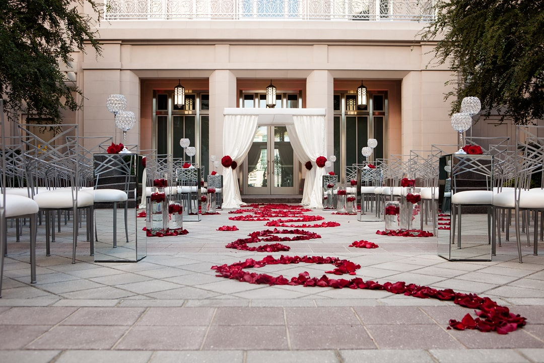 A photo of a wedding in the Courtyard