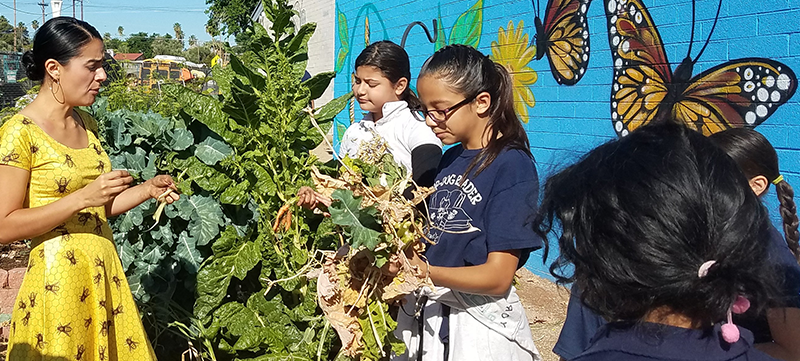 Heart of Education Winner Juliana Urtubey at work in school garden