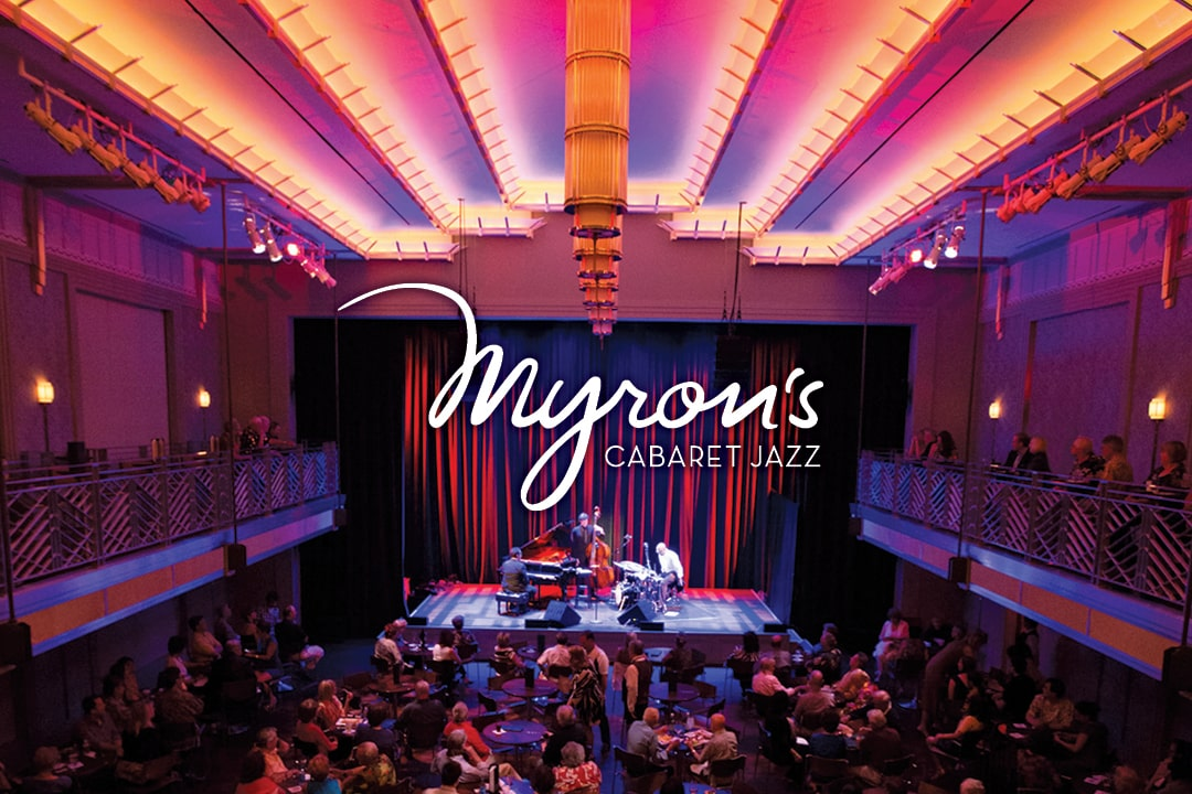 A photo of the interior of Myron's Cabaret Jazz.