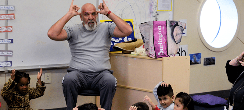 Smith Center Jay Nagle engaging young children in a classroom