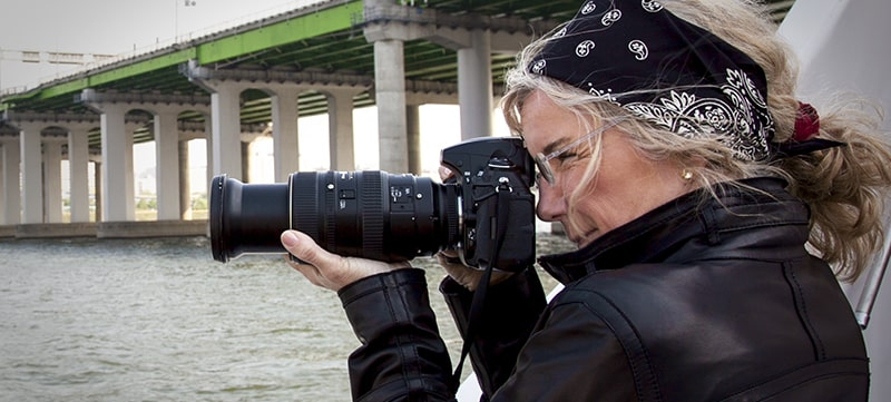 National Geographic Investigative Photographer Jodi Cobb with camera