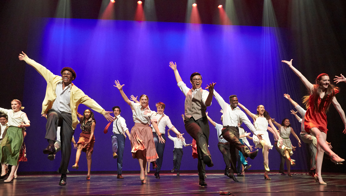 A photo of a nominated high school cast performing on the Reynolds Hall stage at The Smith Center.