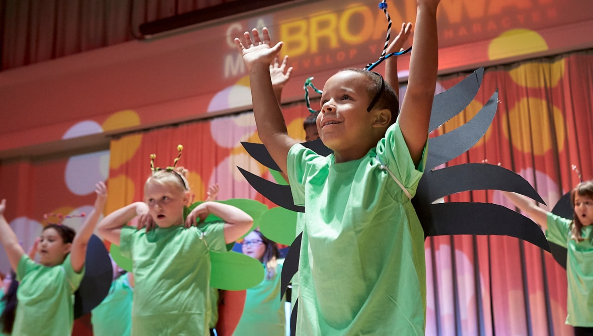 A photo of Camp Broadway participants performing as an ensemble at The Smith Center.