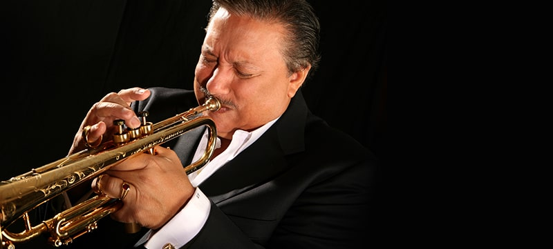 Arturo Sandoval playing the trumpet