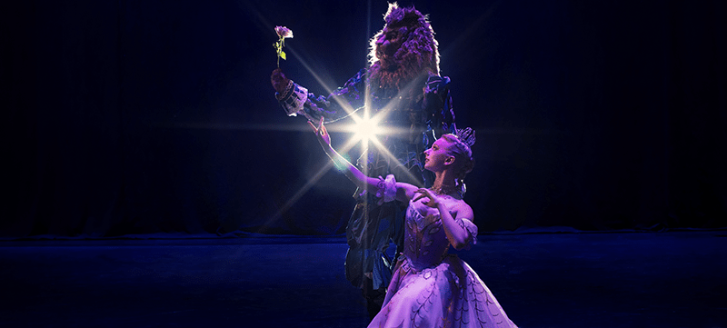 "Dancers performing in the ballet ""Beauty and the Beast"""