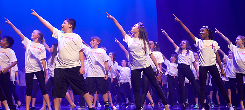 Youth on stage for Camp Broadway